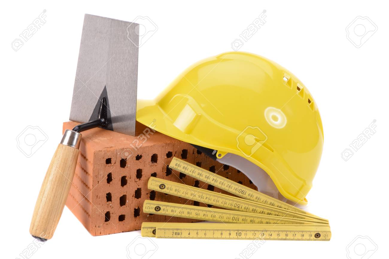 house construction with brick, tools, plan and model house - 101558734