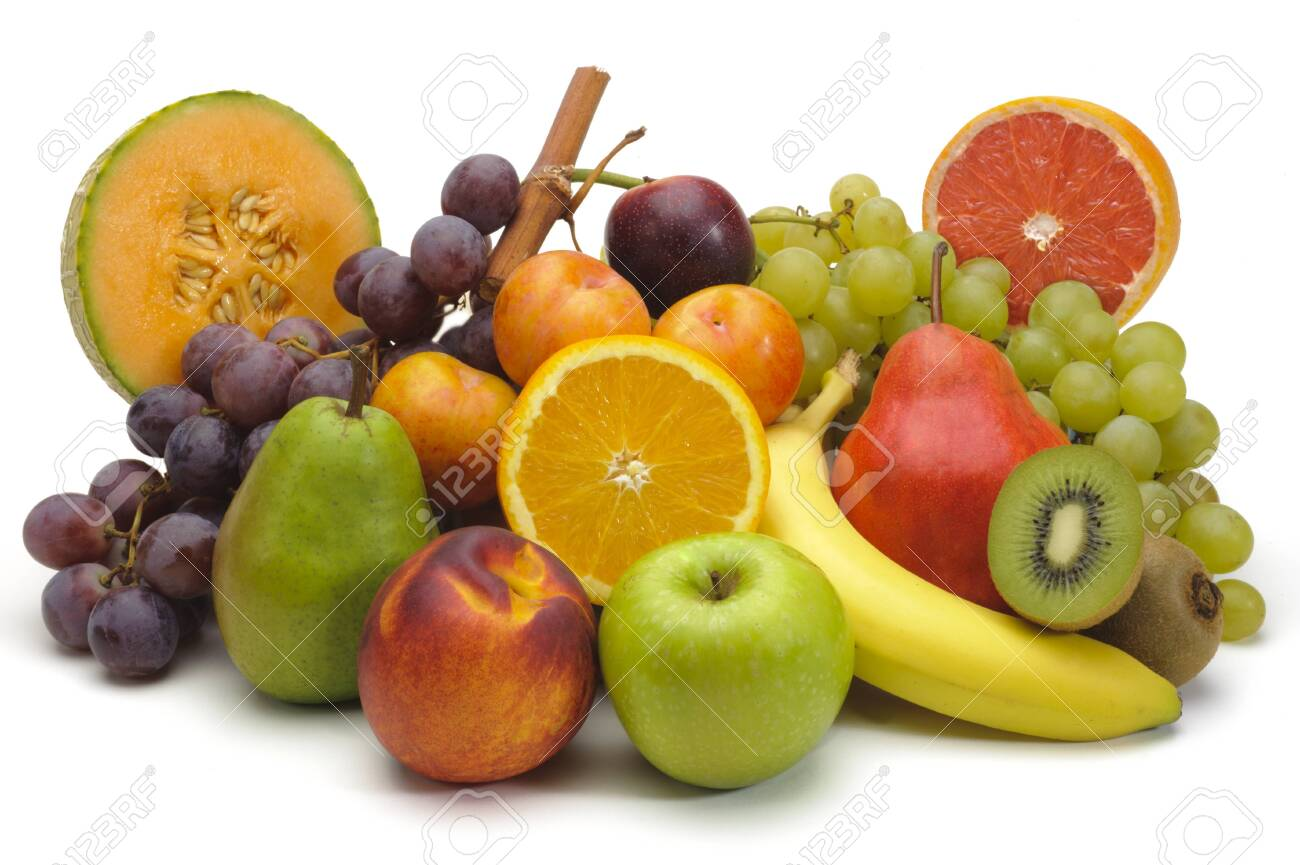 mixed fruit plate on white background - 144261301