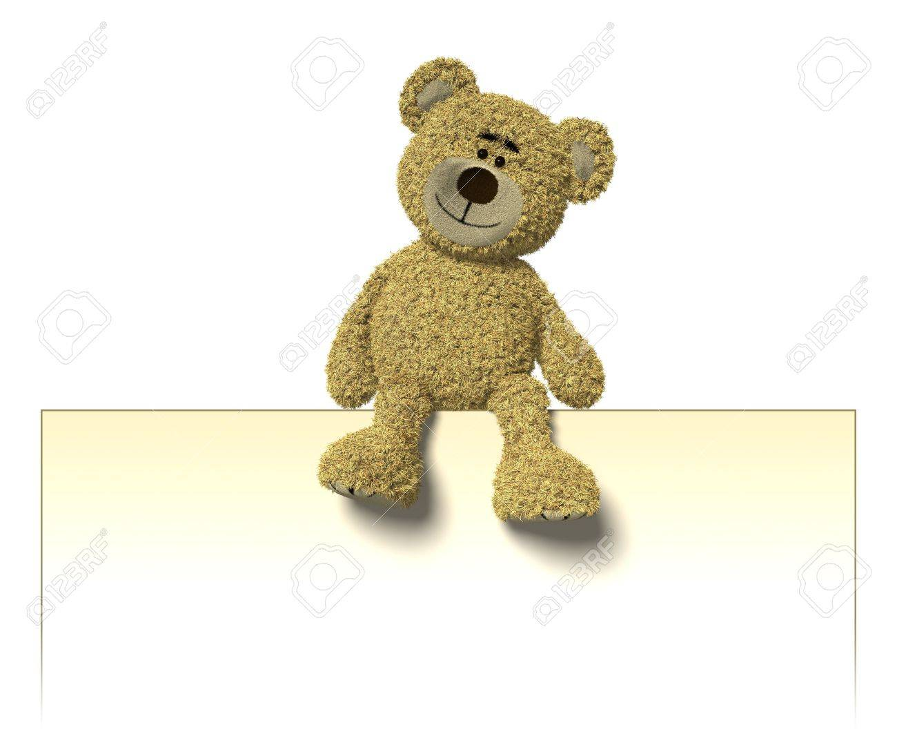 Nhi Bear sitting on top of an empty white sign. You can place your logo or text into this sign. Stock Photo - 6965536