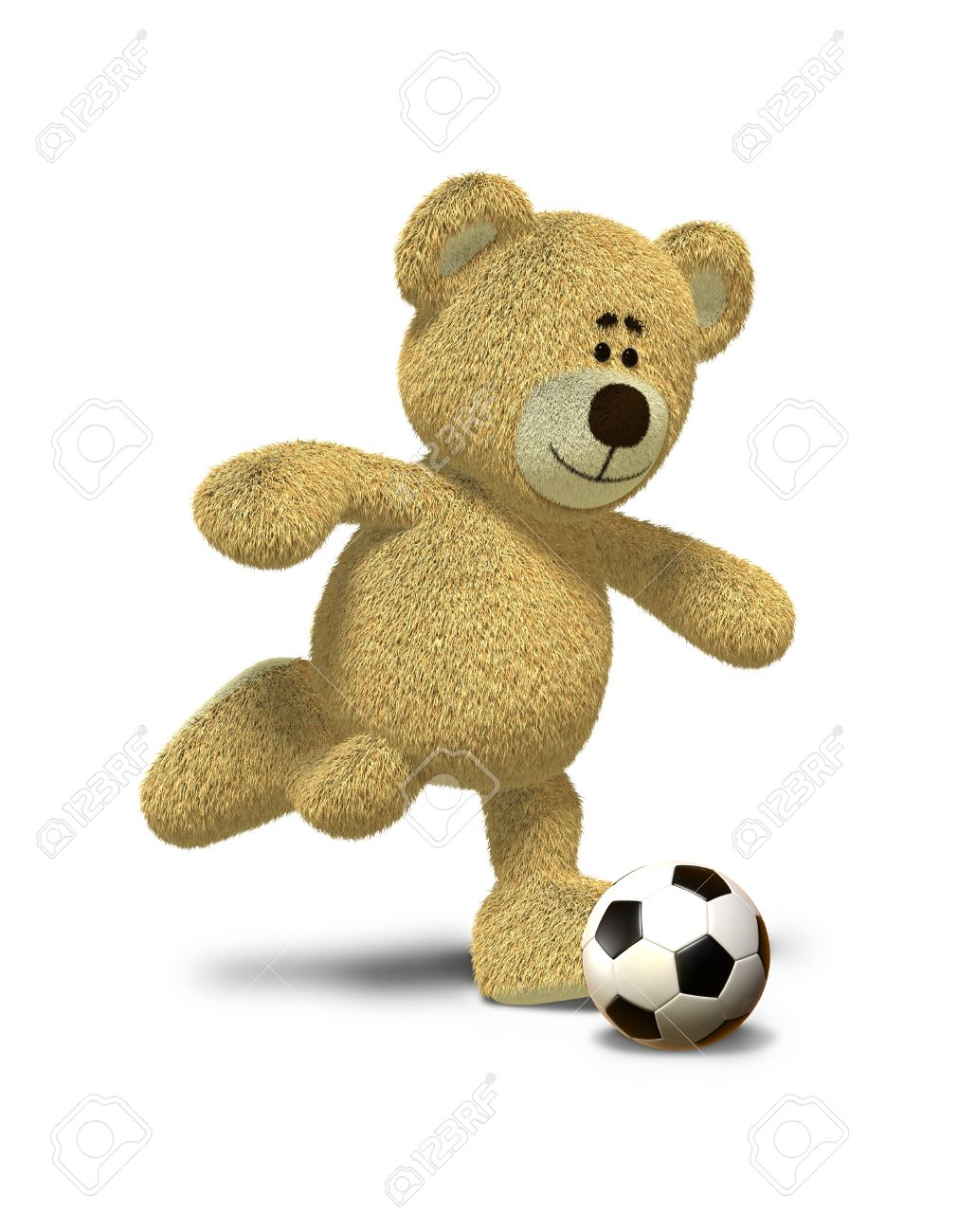 a9030e8c Stock Photo - Teddy Bear is about to kick a soccer ball that lies in front  of him. This image is isolated on a white background with soft shadow.