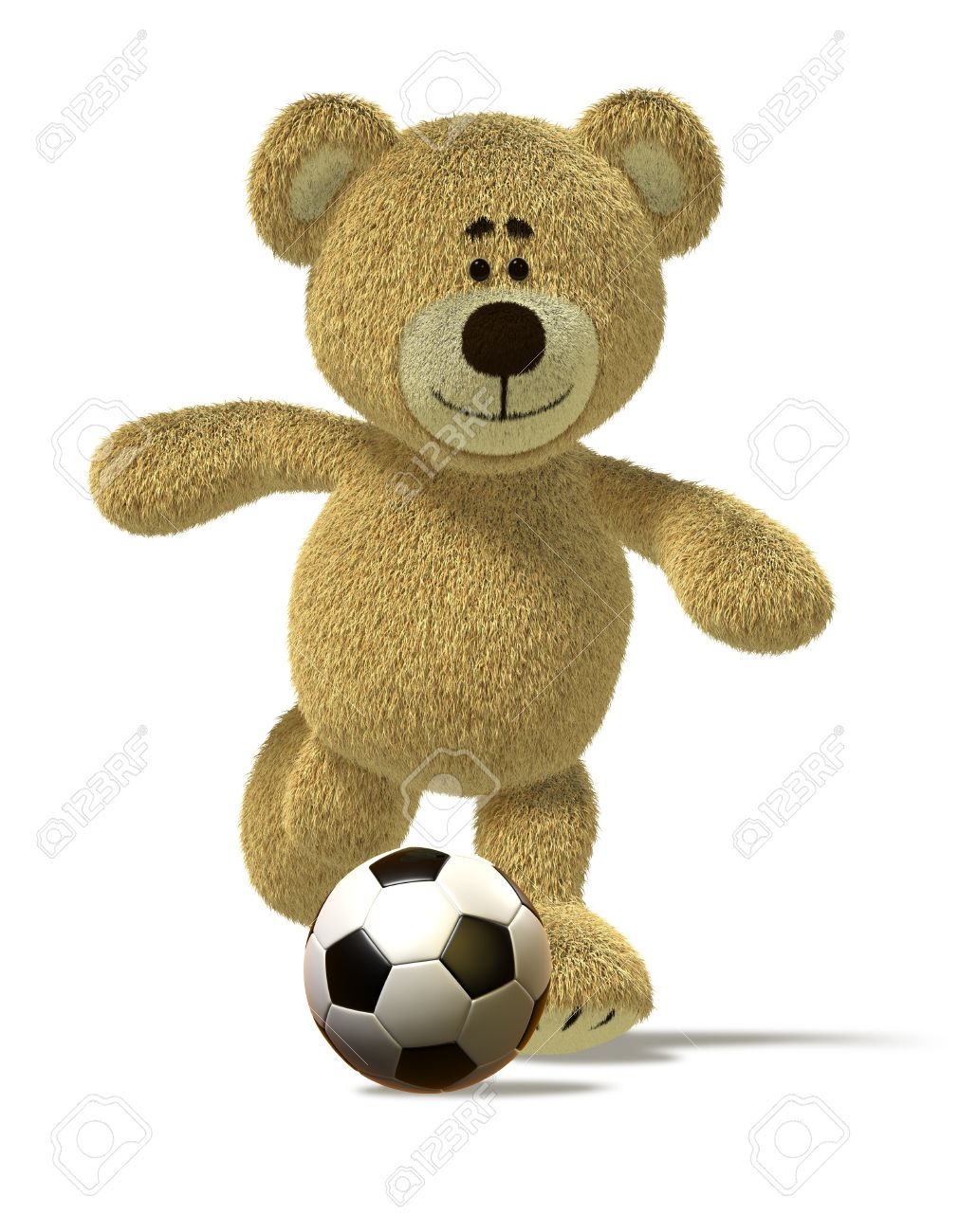 f56a6adf Stock Photo - Teddy Bear is running and about to kick off a soccer ball in  front of him. This image is isolated on white with soft shadows.