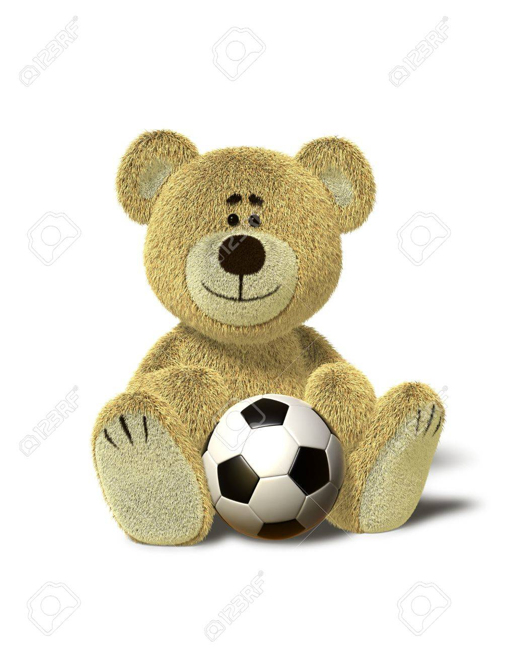b5d04fb7 A cute teddy bear sits down on the floor with a soccer ball between his legs