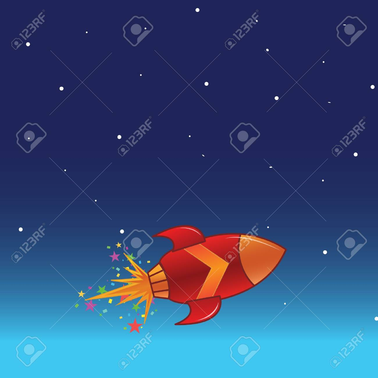 The flying rocket in space Stock Vector - 11218488