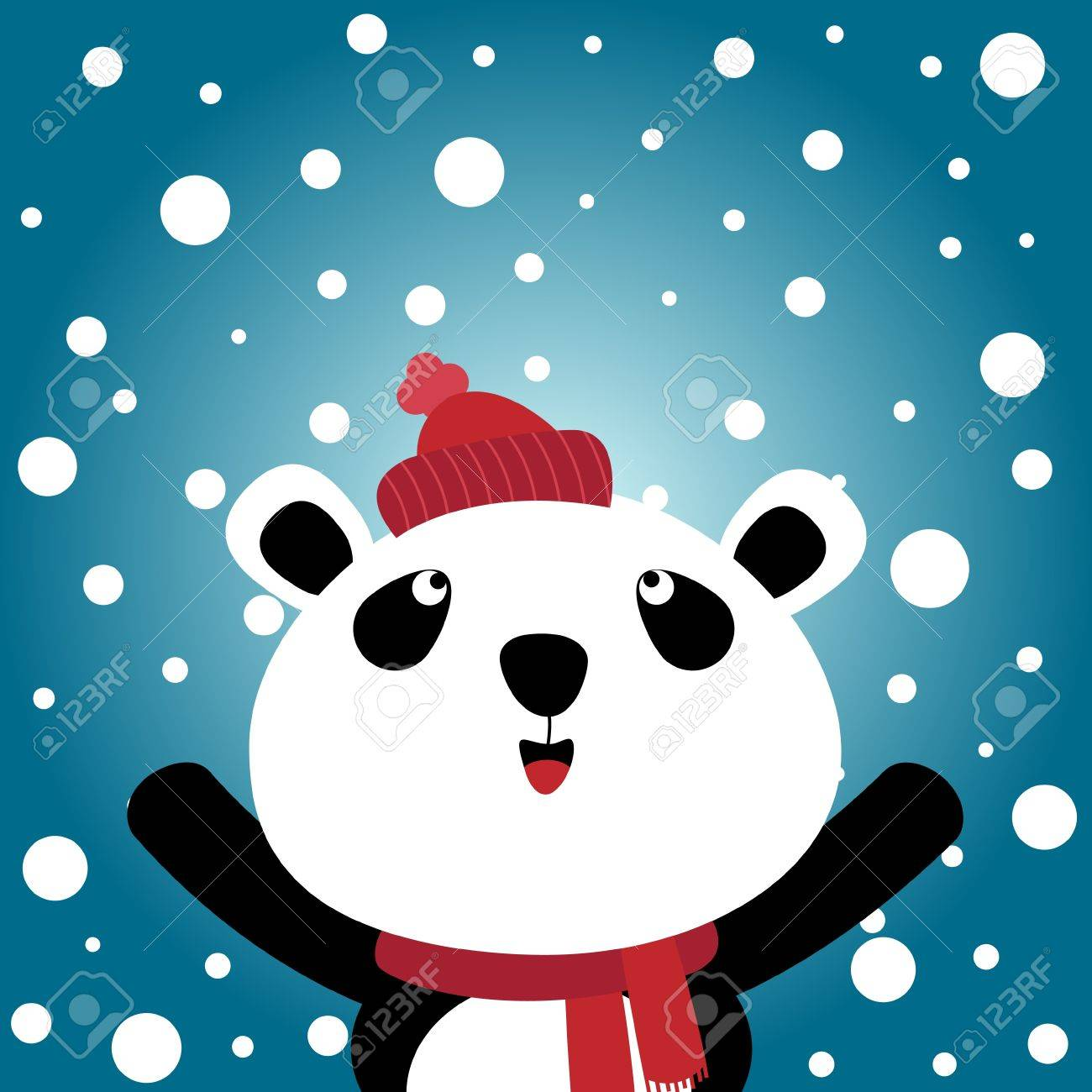 Panda and snowy background Stock Vector - 11218471