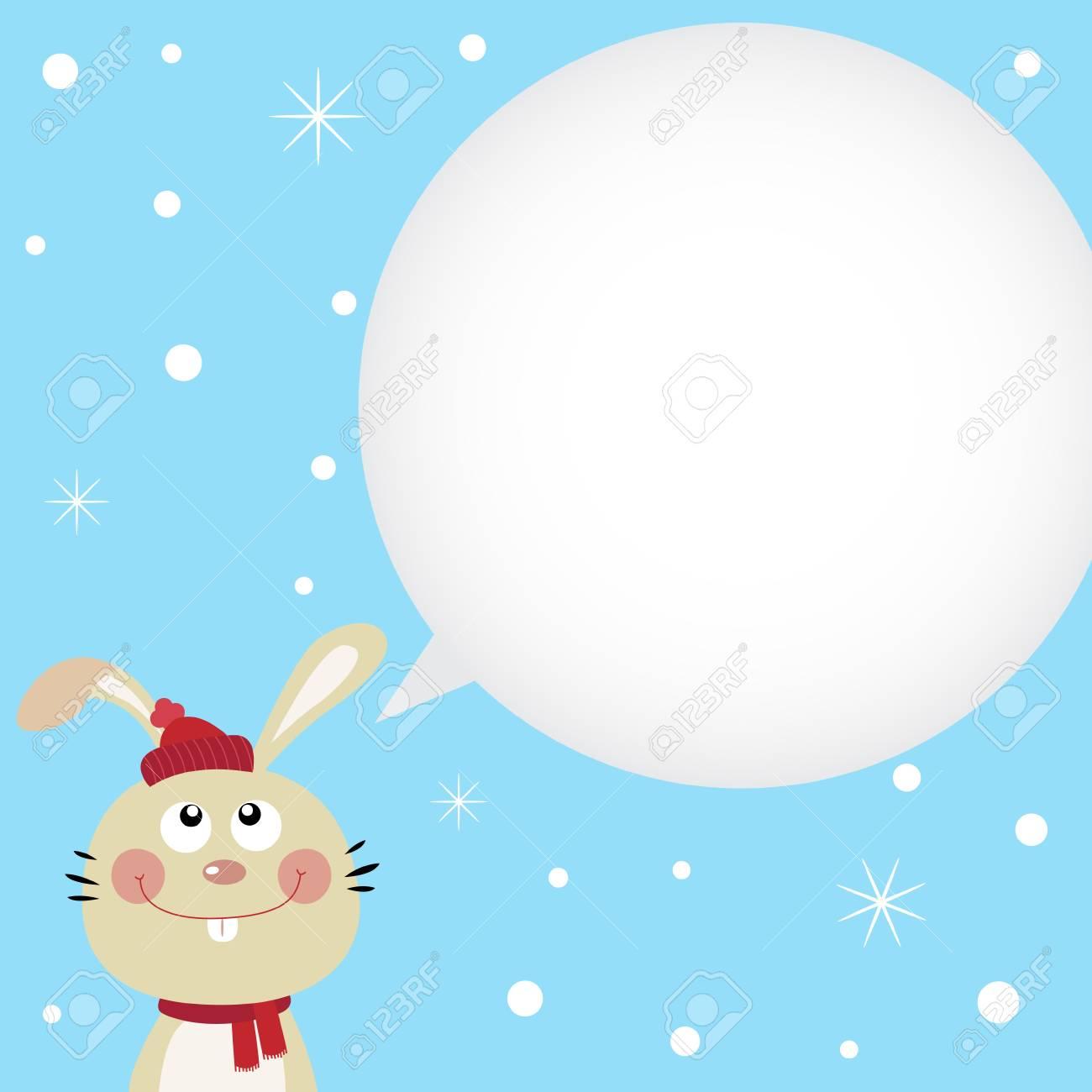 Christmas card with cute rabbit Stock Vector - 11313286