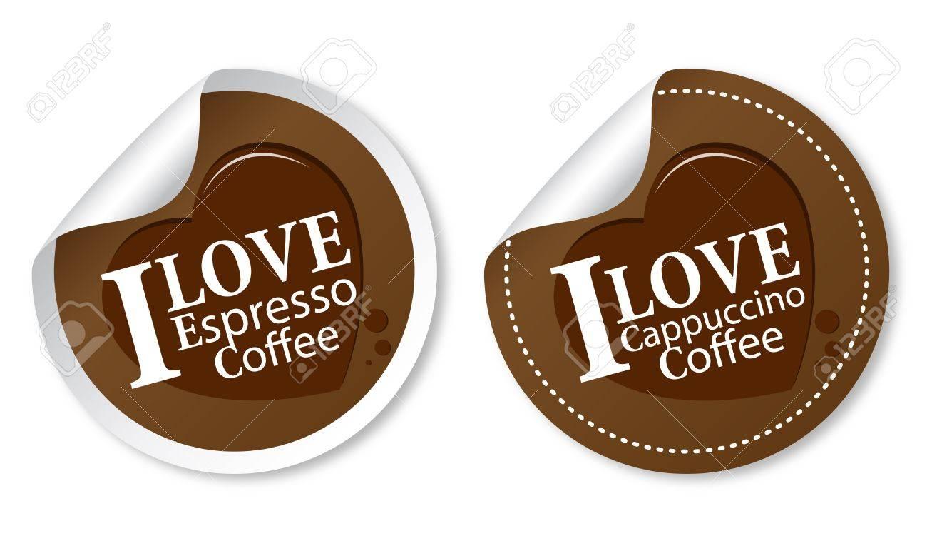 I love coffee stickers (Espresso and Cappuccino) Stock Vector - 11568478