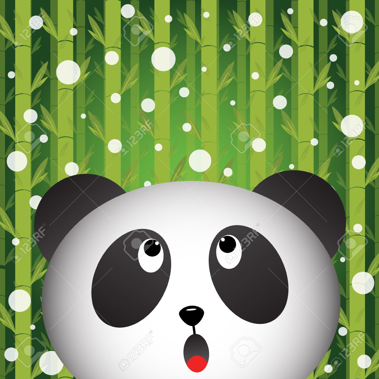 Panda And Snow On Bamboo Background Royalty Free Cliparts Vectors