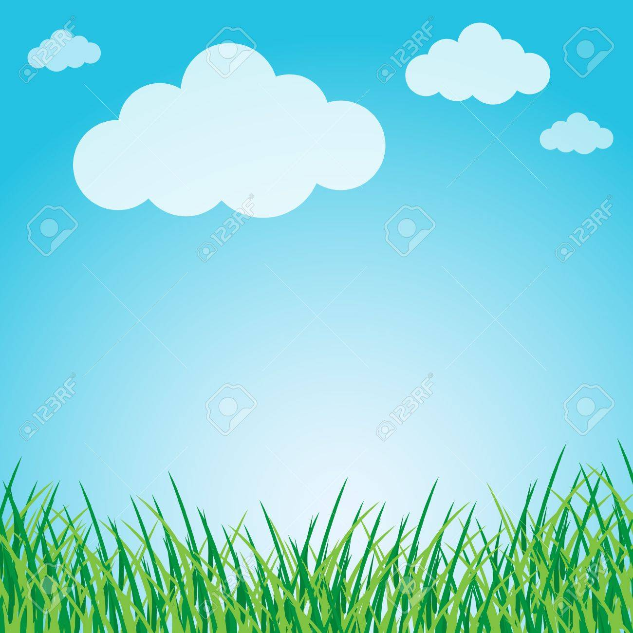 Grassy green field and blue sky Stock Vector - 12816922