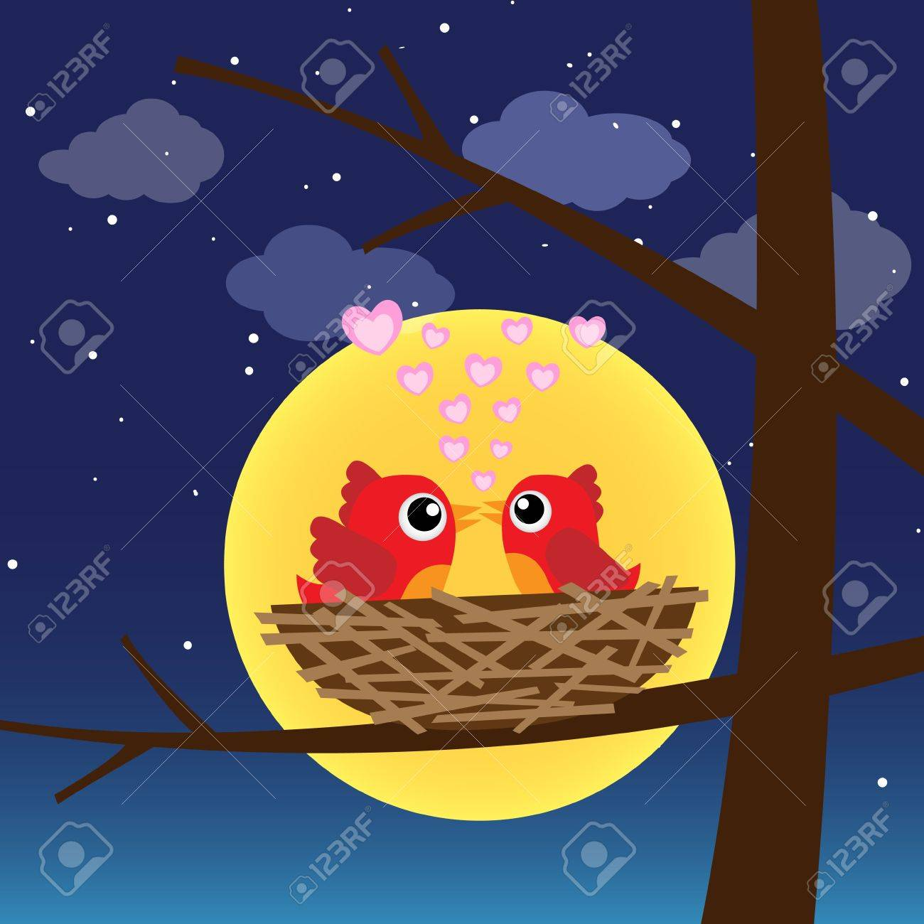 Birds in love at night Stock Vector - 12816884