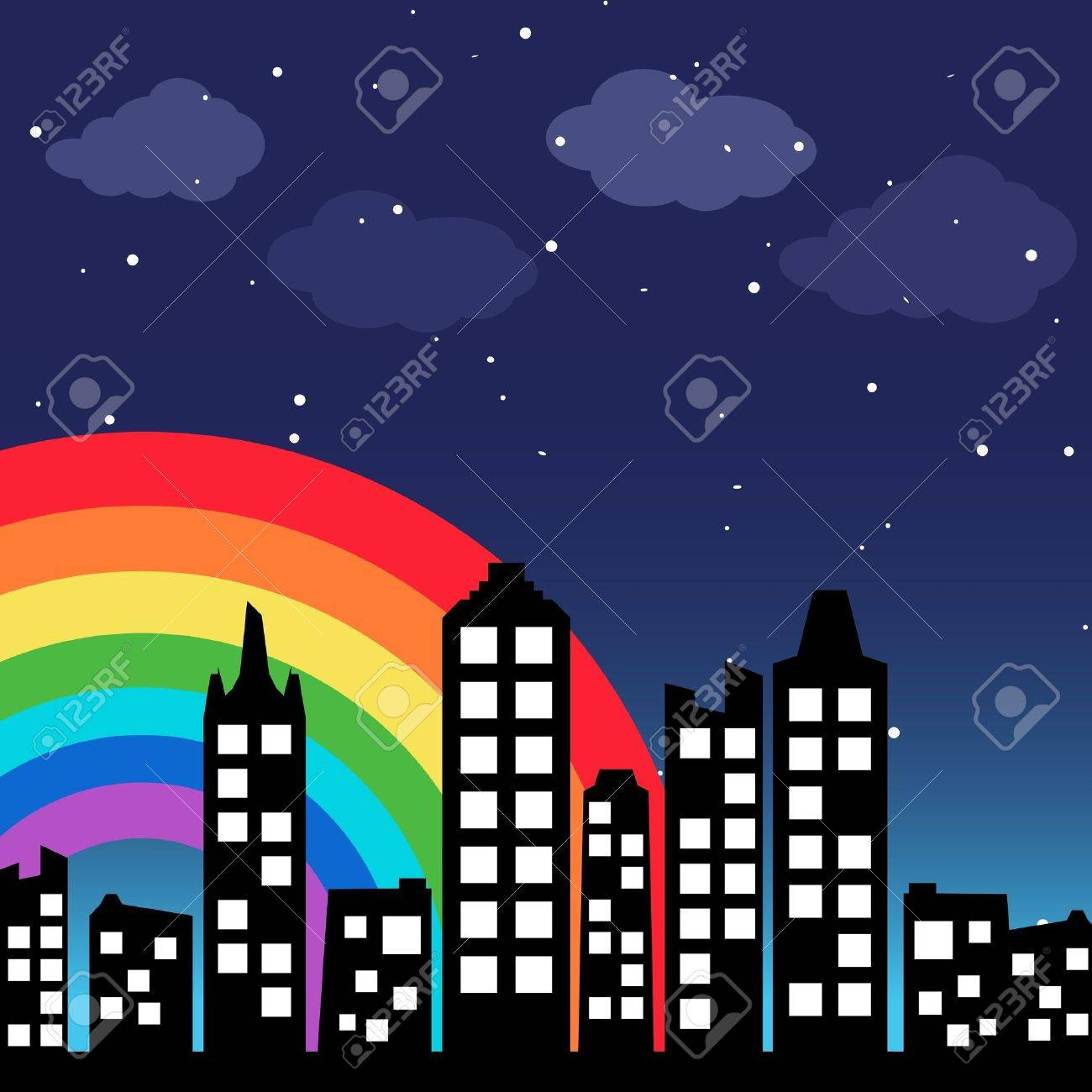 Cityscape background with rainbow Stock Vector - 13000132