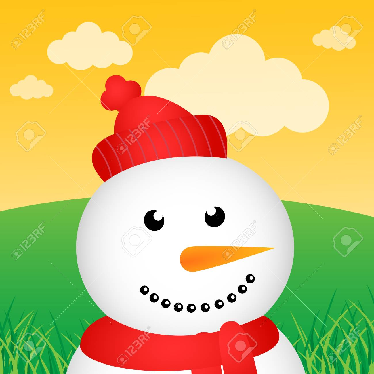 Snowman in the forest Stock Vector - 13000229