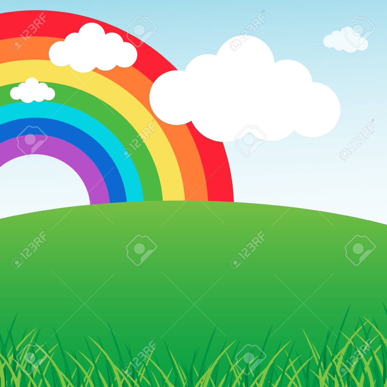 Summer landscape with rainbow Stock Vector - 13737250