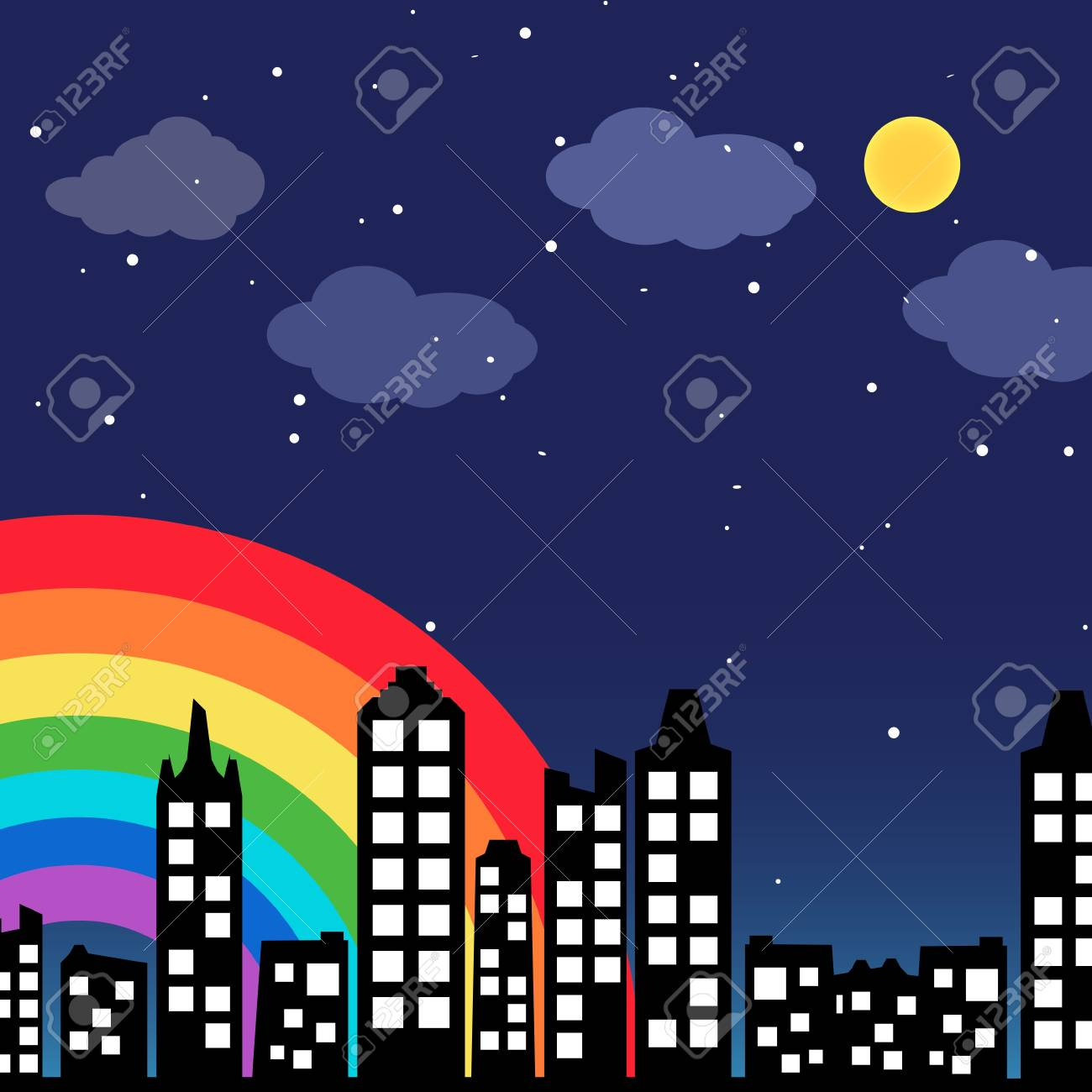 Cityscape background with rainbow Stock Vector - 14075133