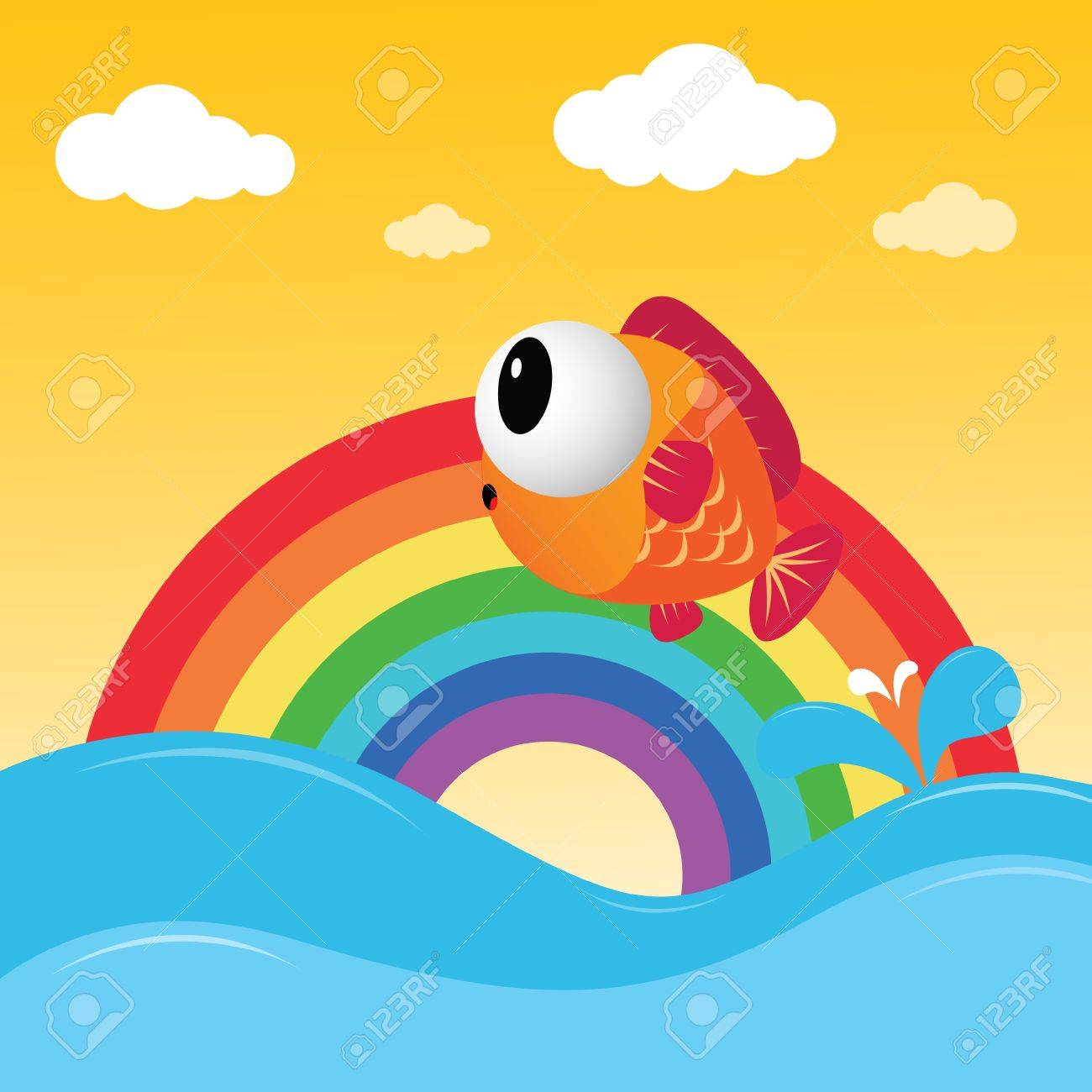 Fish jumping out of the water with rainbow Stock Vector - 14075116