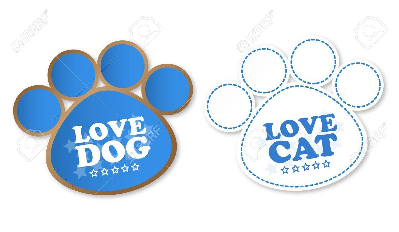 Paw print stickers with text love dog and love cat Stock Vector - 14187547