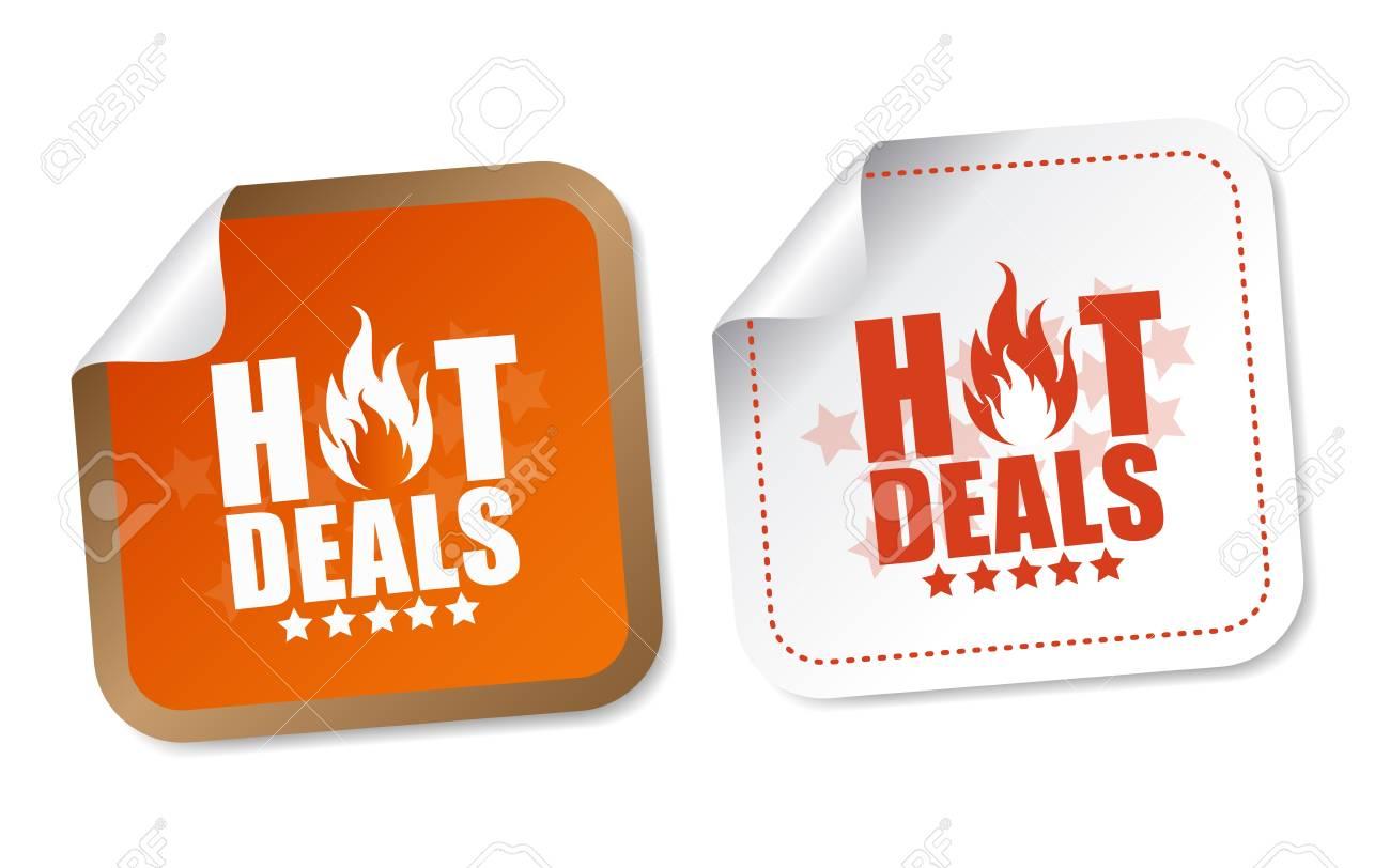 Hot deals stickers Stock Vector - 15090499
