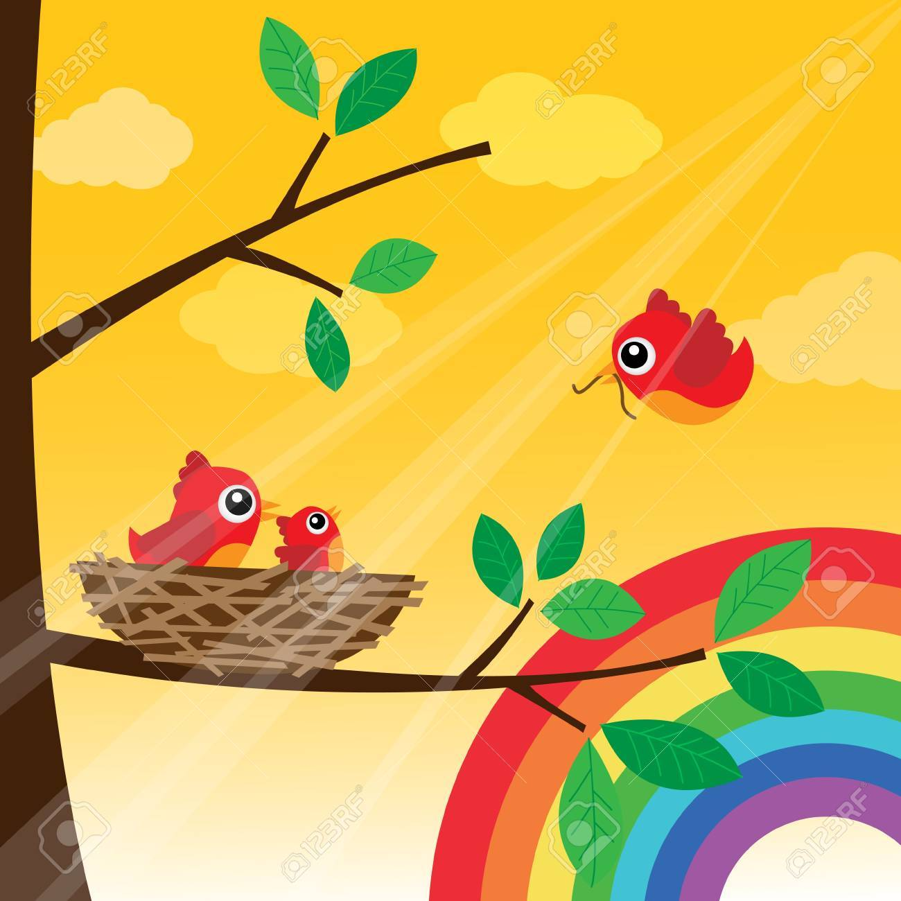 Loving bird feeding with rainbow Stock Vector - 15143407