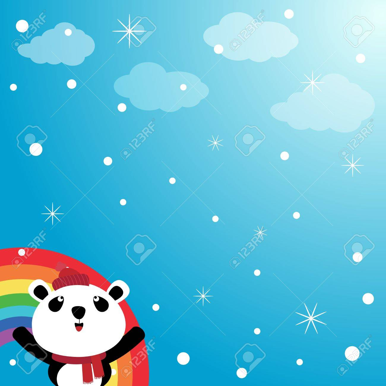 Panda and rainbow in the sky Stock Vector - 15311074