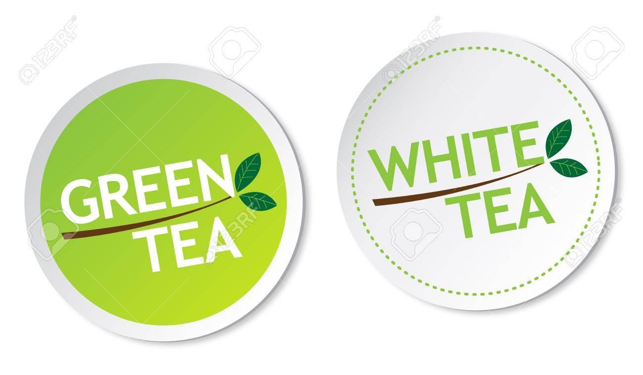 Green tea and White tea stickers Stock Vector - 15843548
