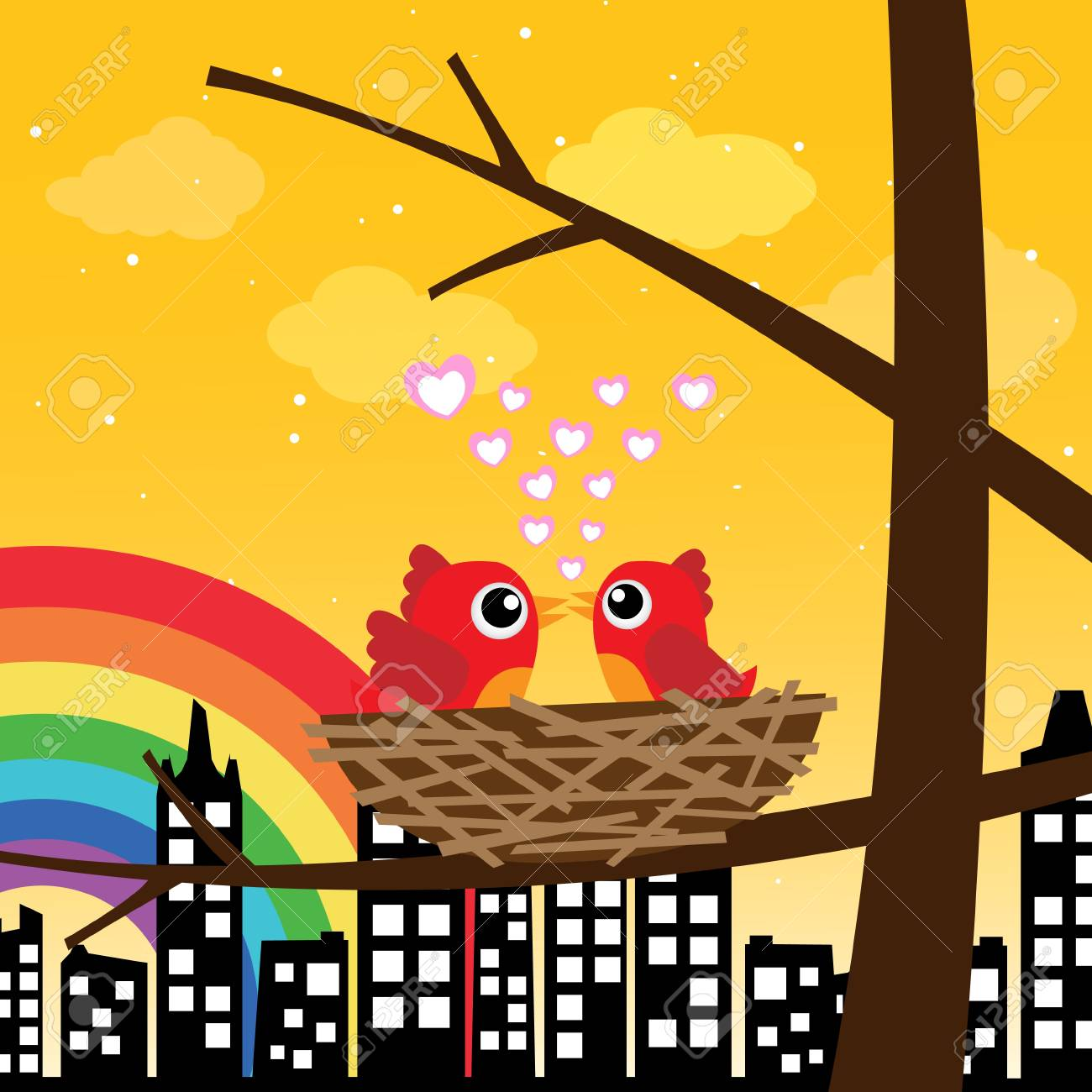 Birds in love in the morning with rainbow Stock Vector - 16435425