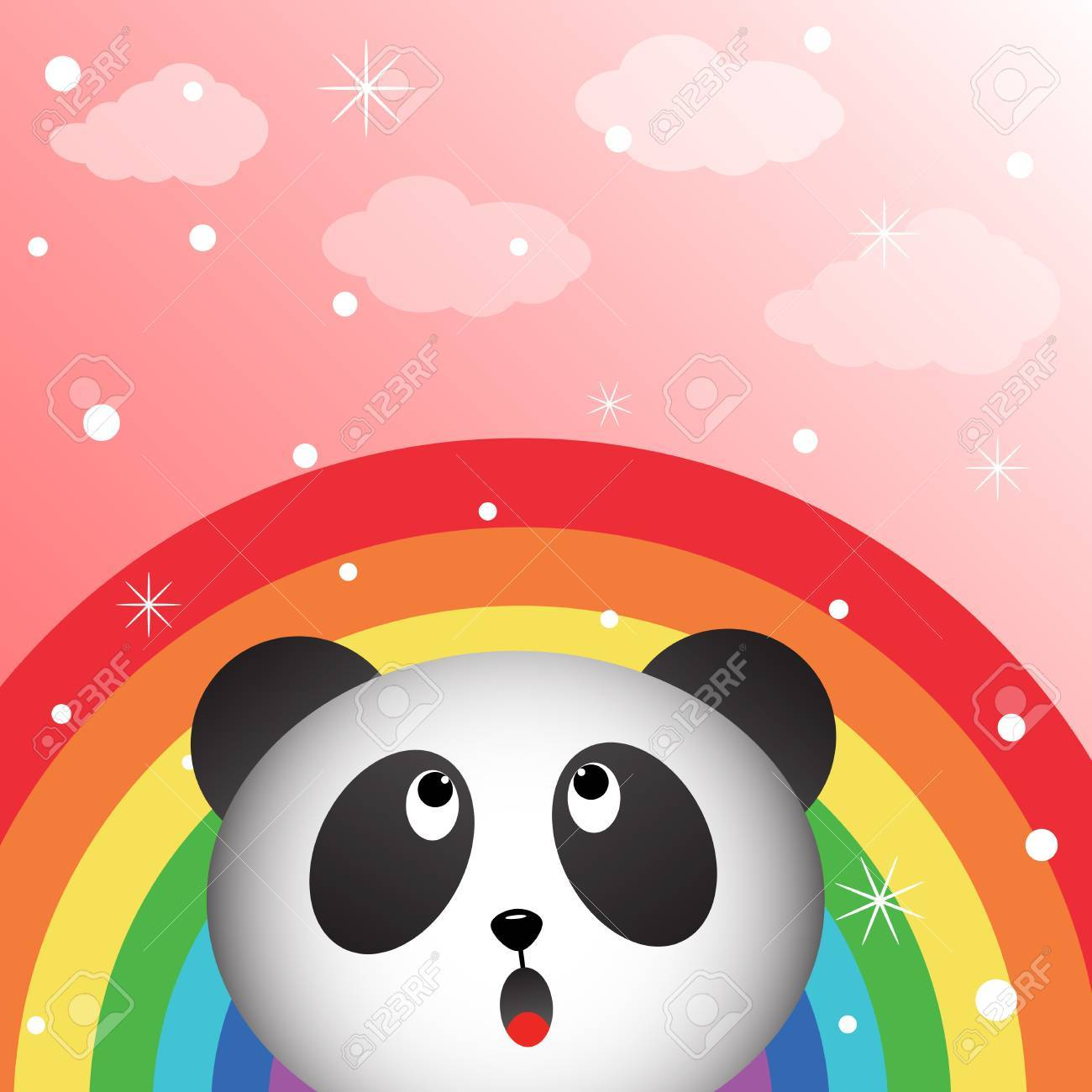 Panda and rainbow in the sky Stock Vector - 16850732