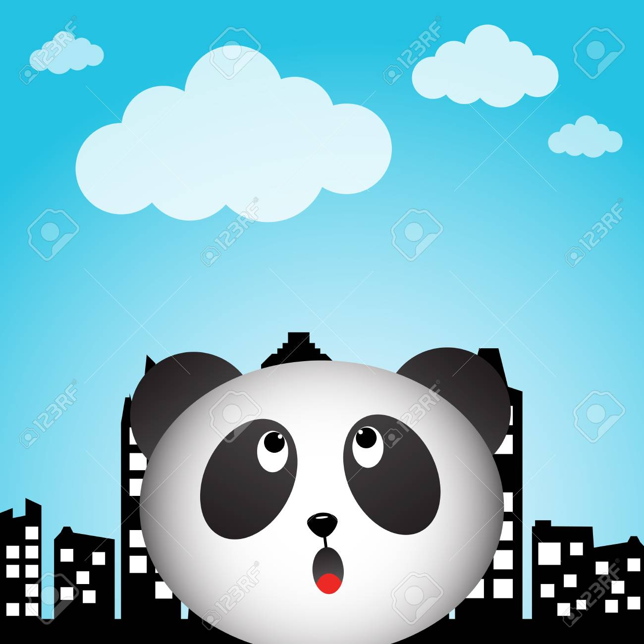Panda and rainbow in the city Stock Vector - 20243034