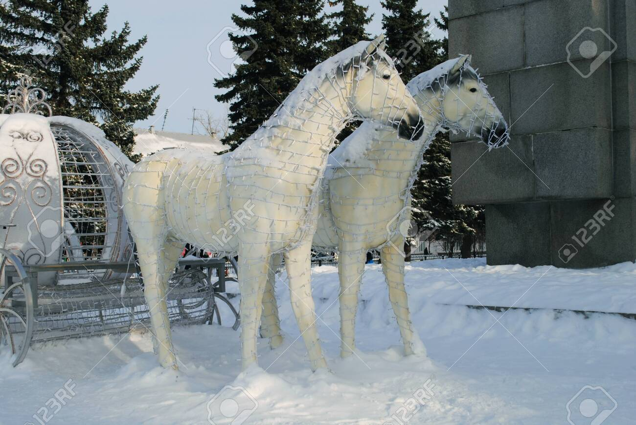 New Year Horses Sculpture At Snow Stock Photo Picture And Royalty Free Image Image 134018724