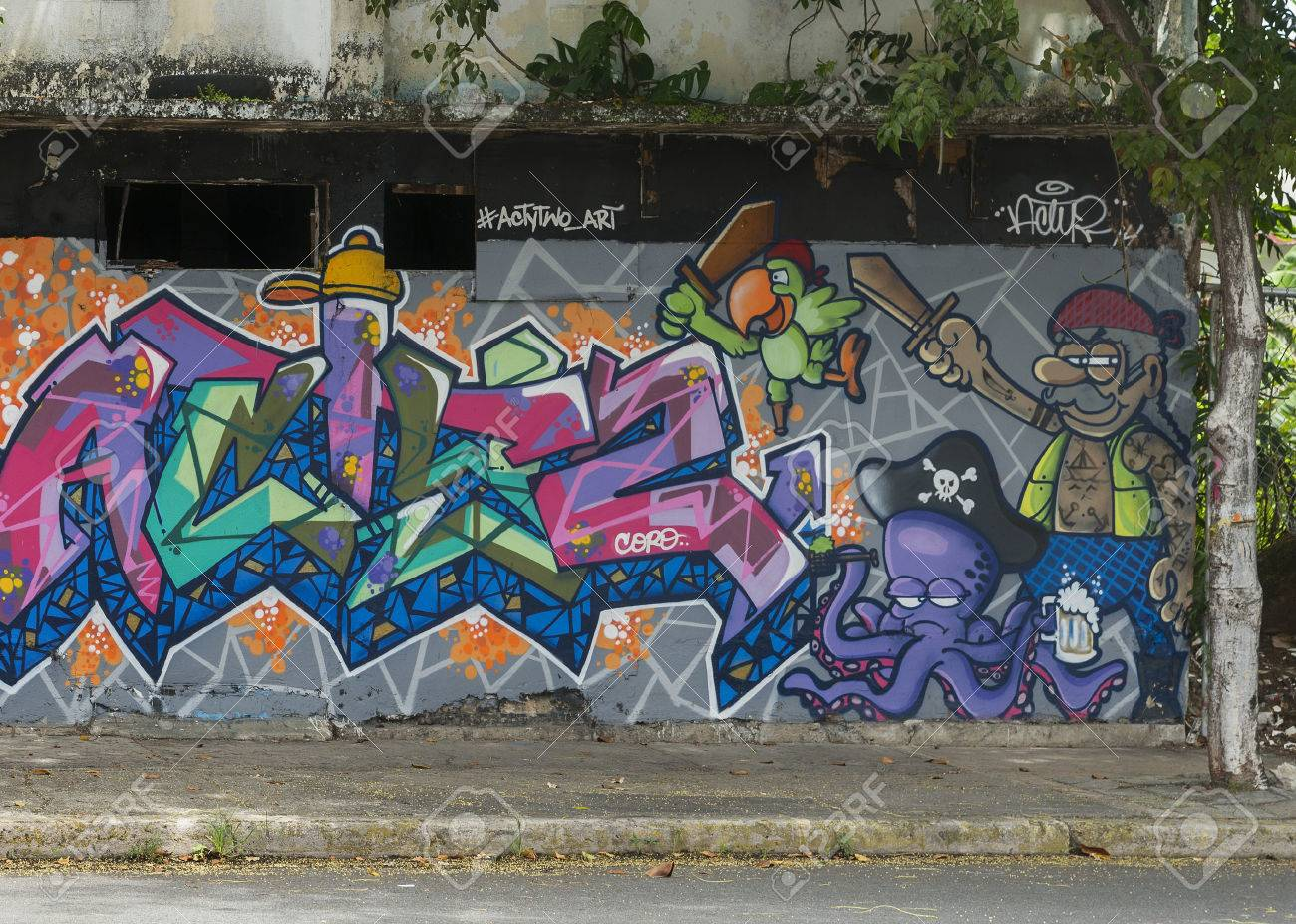 San juan puerto rico march 13 2015 graffiti in tras talleres neighborhood very sharp image of a group of cartoonish pirates including parot and