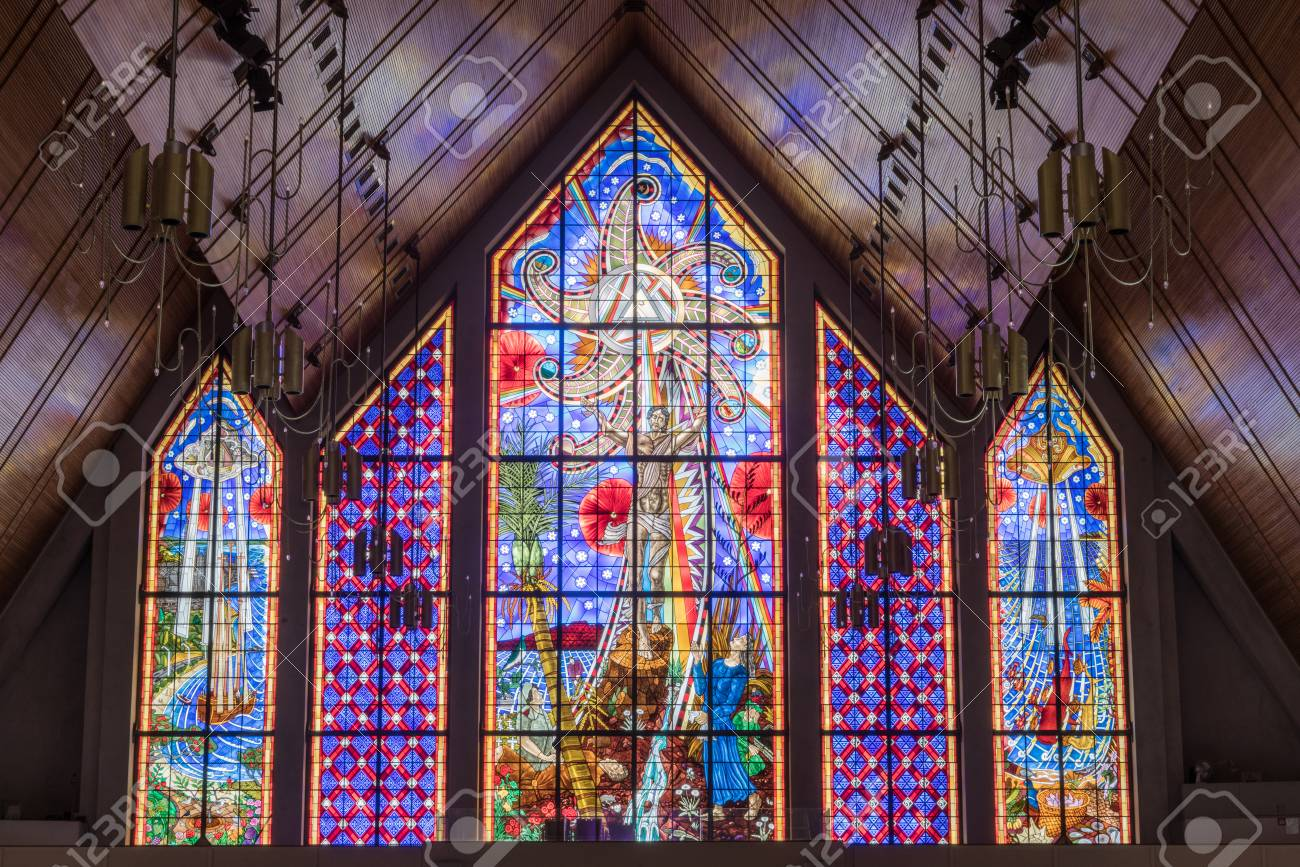 Large Stained Glass Window.Auckland New Zealand March 4 2017 Mostly Blueish Large Stained