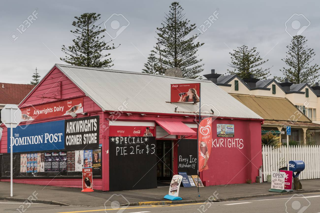 Napier, New Zealand - March 9, 2017: Arkwrights Dairy is a corner