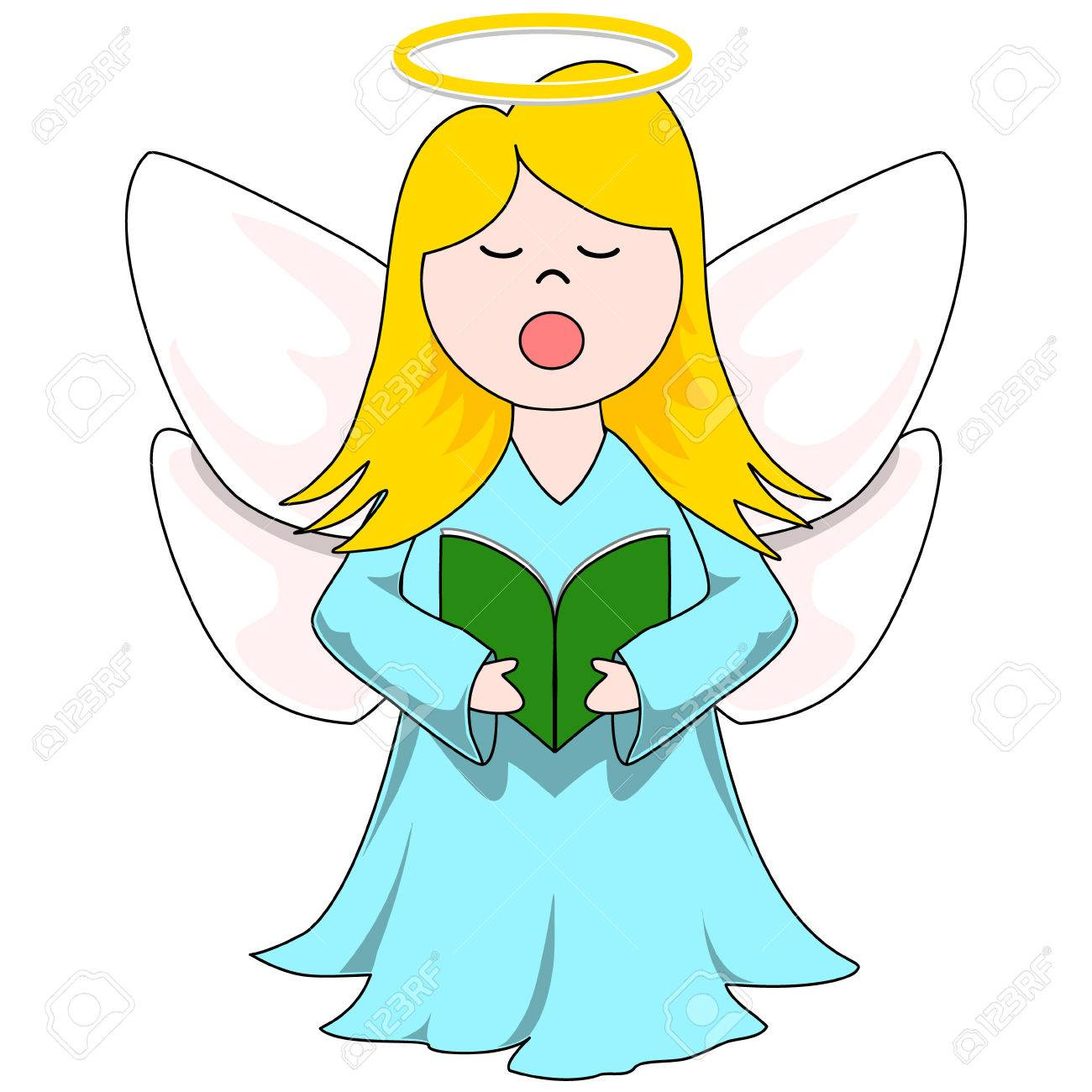 Christmas Caroling Angel With Blue Dress, Green Carol Book And Golden Halo  Stock Vector