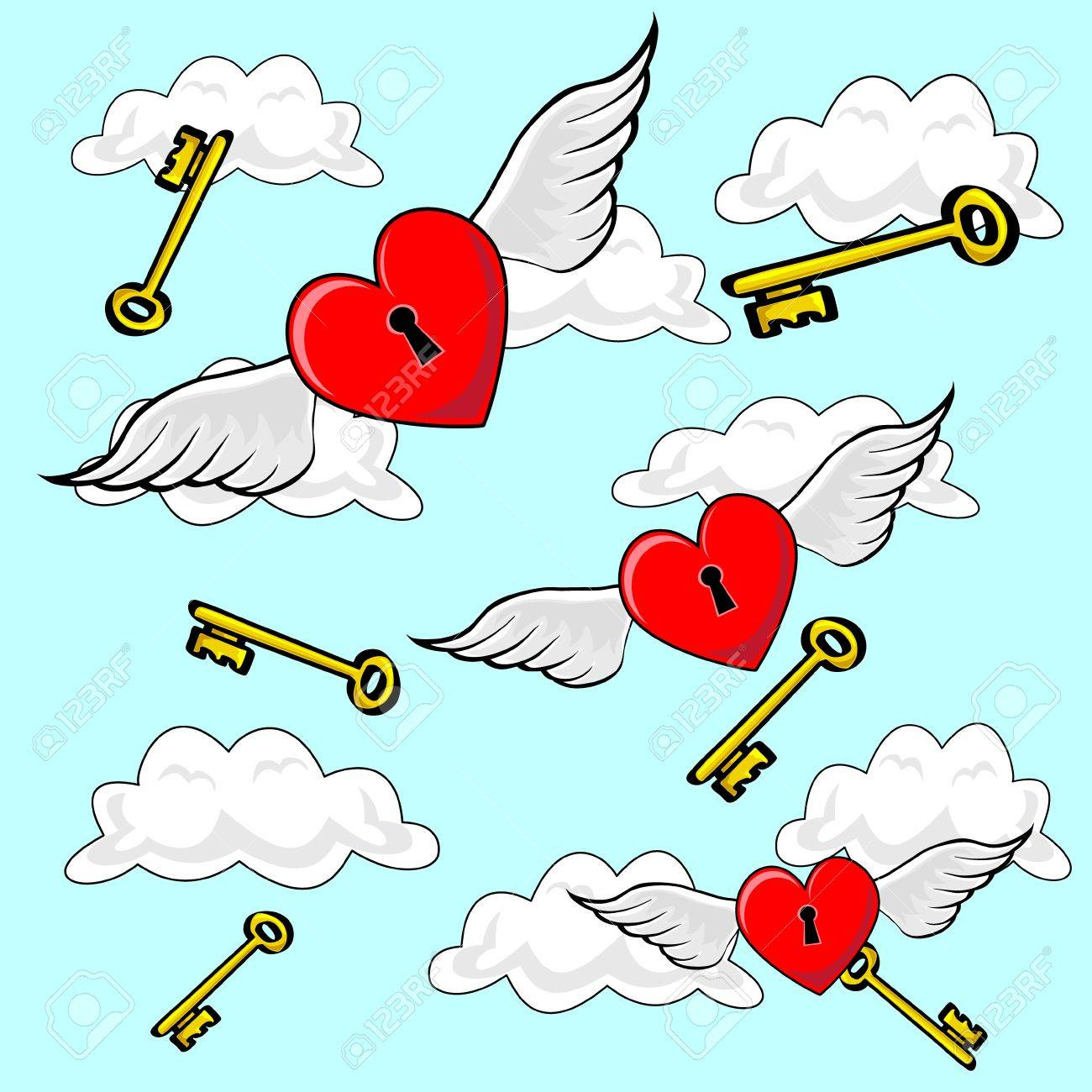 35368045-Valentines-heart-locks-flying-o