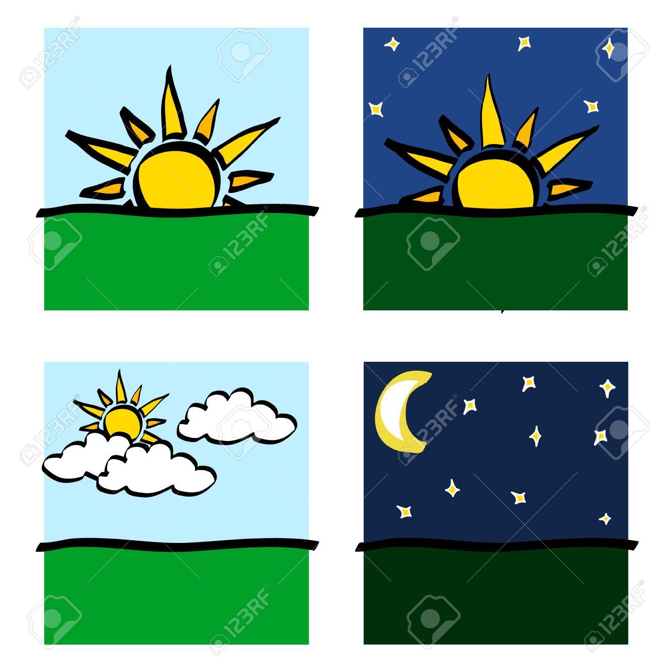 Jour, Coucher De Soleil, Lever Soleil, Lune Et Nuages ??icônes De on