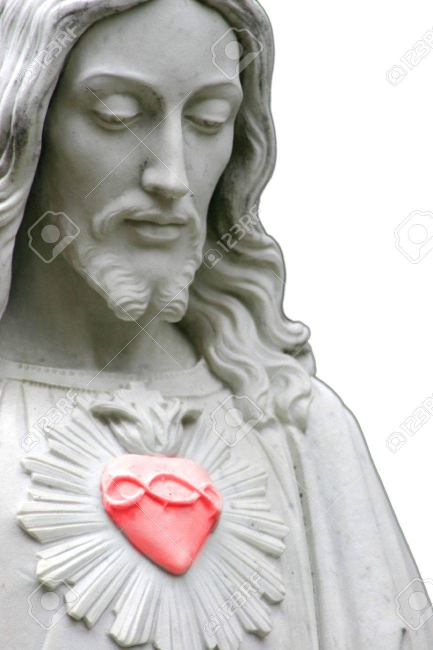 Jesus With A Red Heart, Selective Color Stock Photo, Picture And ...