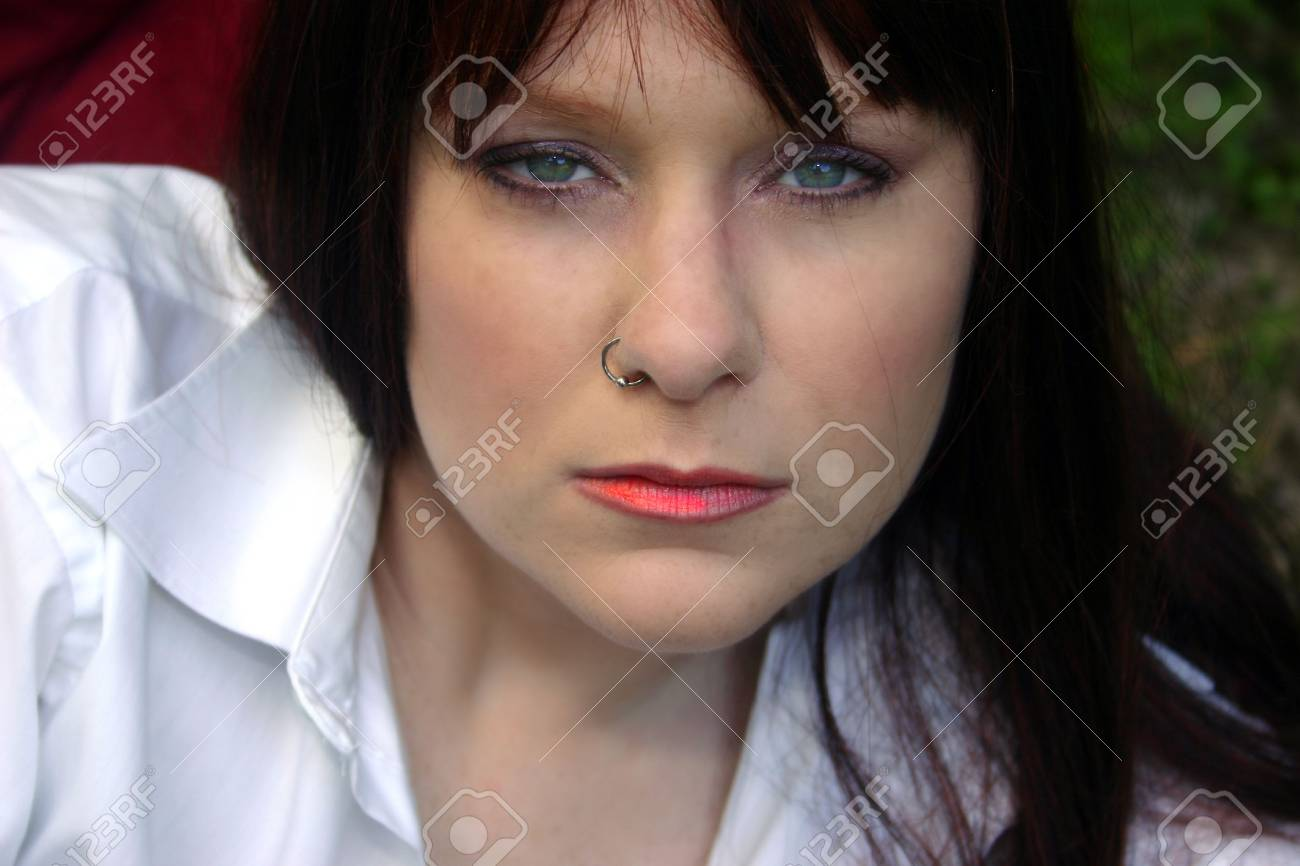 Beautiful Redhead With Nose Ring Stock Photo Picture And Royalty