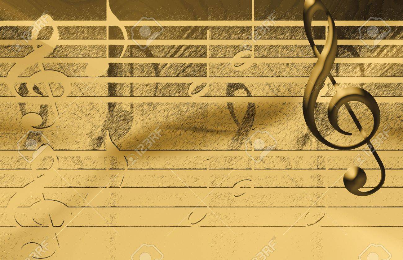 Golden Music Background Stock Photo, Picture And Royalty Free Image ...
