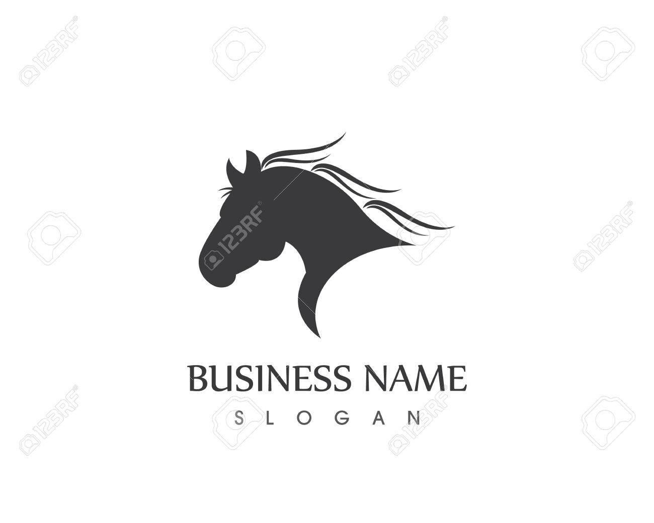 Horse Head Silhouette Logo Vector Design
