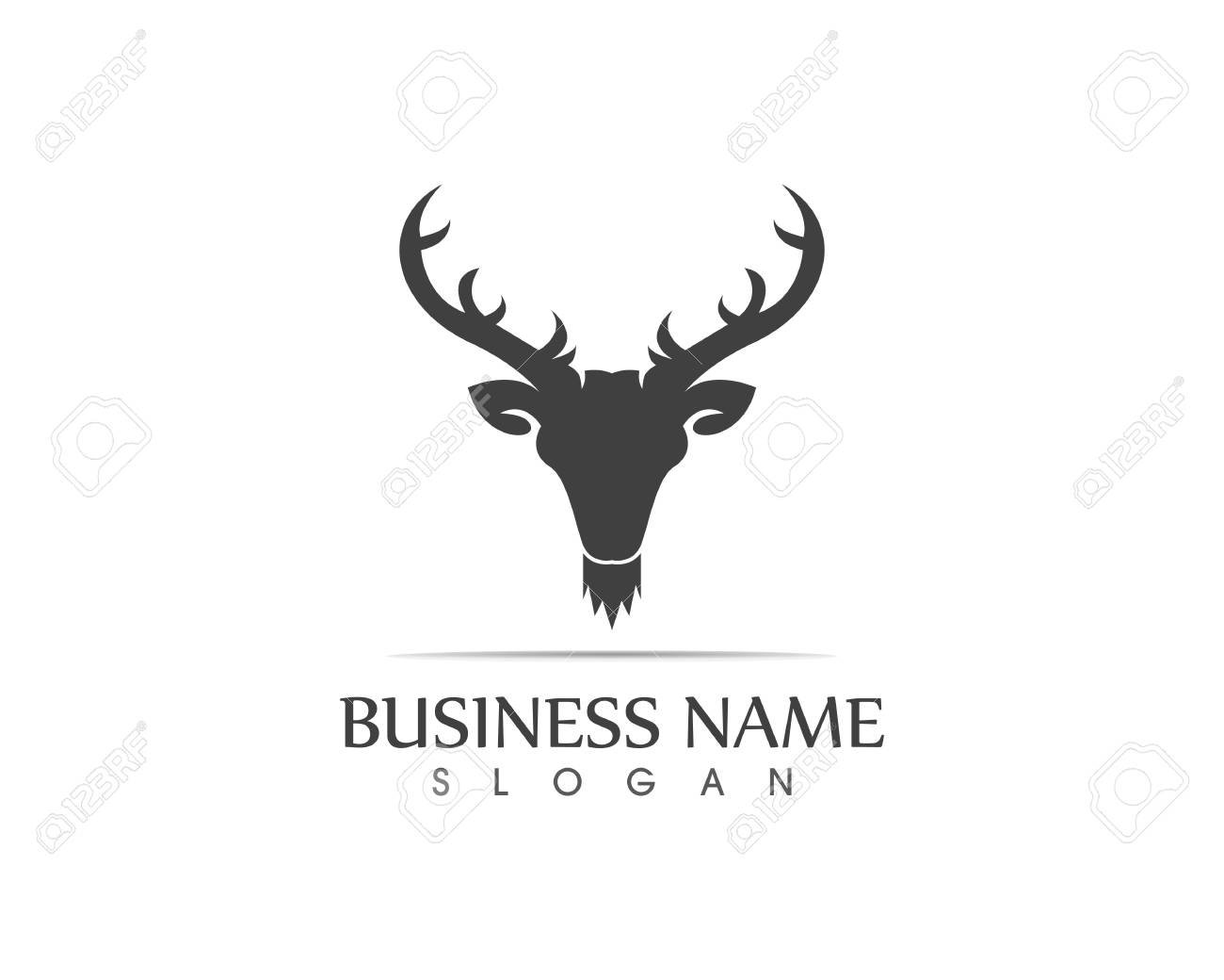 Deer head silhouette logo design template
