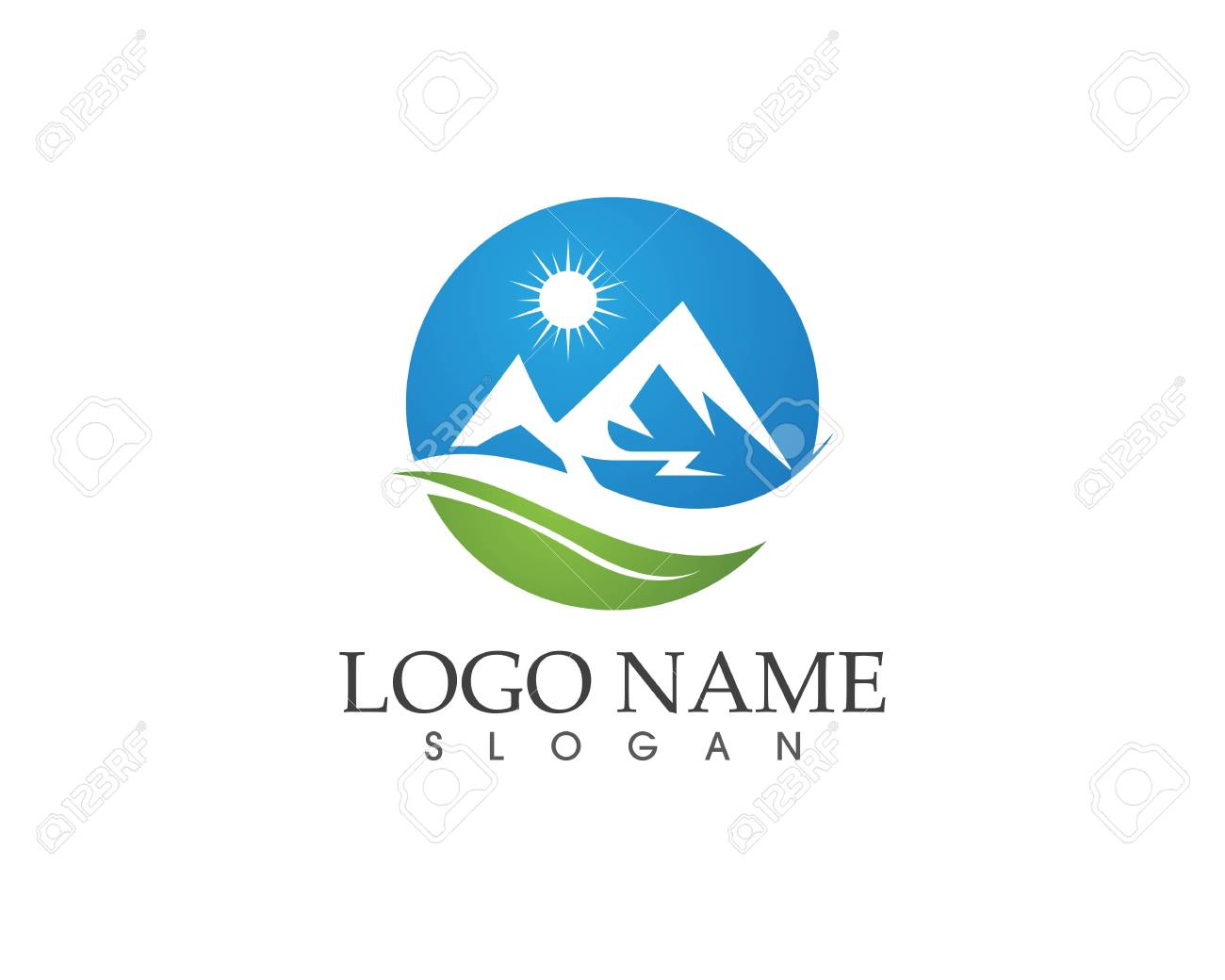 Mountain Logo Business Template Vector Clip Art Libres De Droits