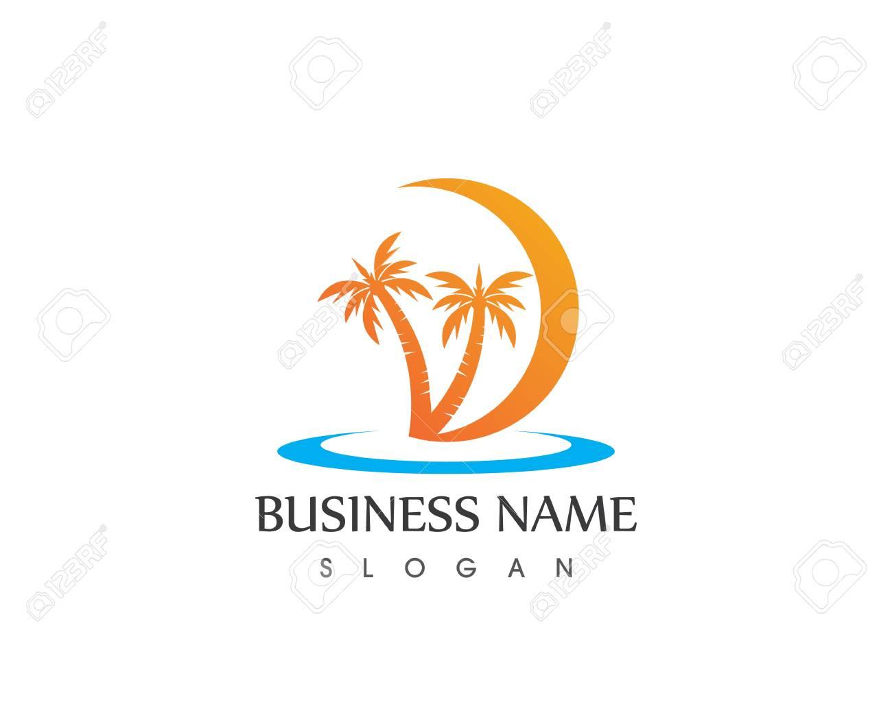 Coconute tree wave beach holidays logo vector - 113856665