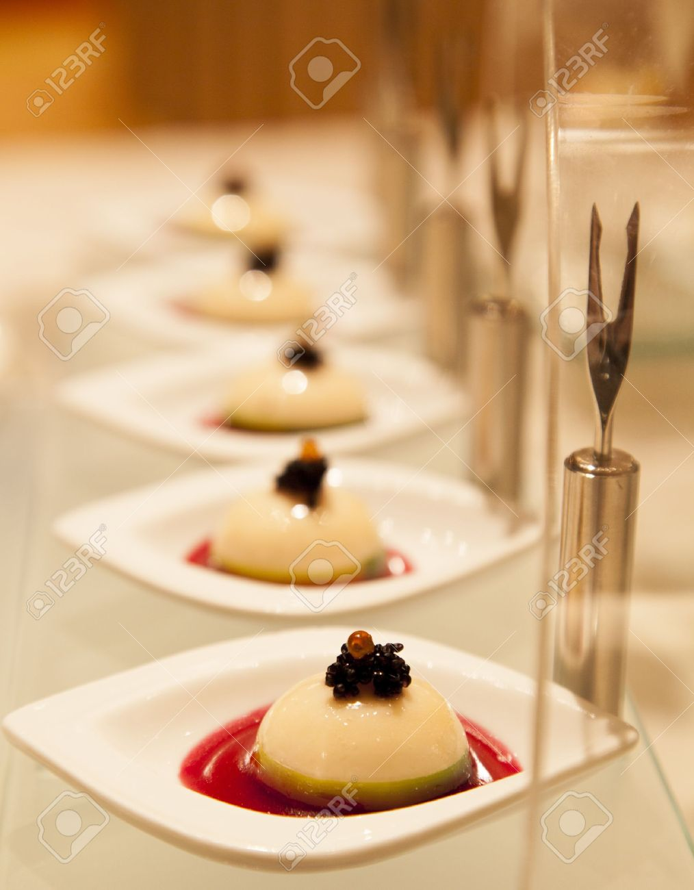 Finger food Fruits of the sea pudding with caviar Stock Photo - 17920419
