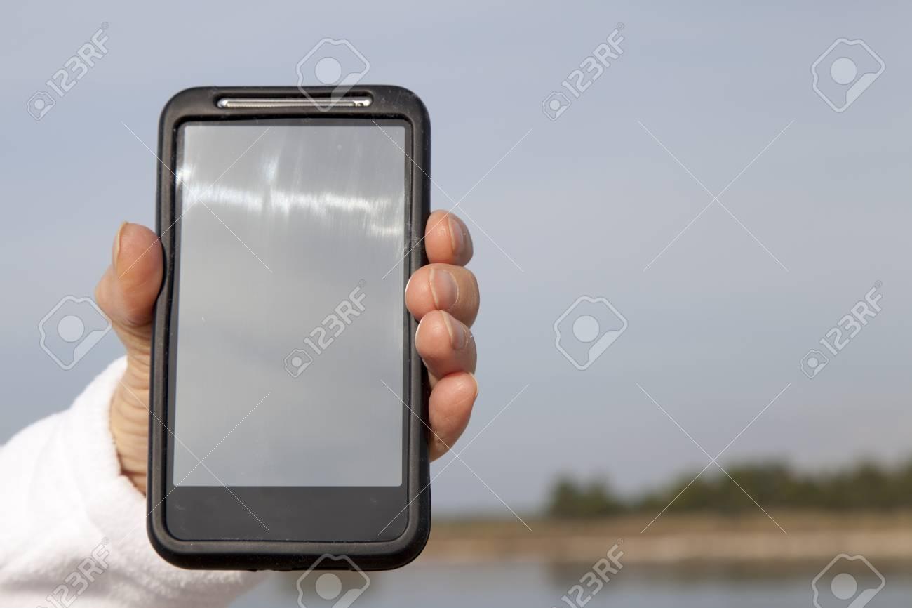 Immagini Stock Mano Che Mostra Cellulare Smart Phone Con Schermo