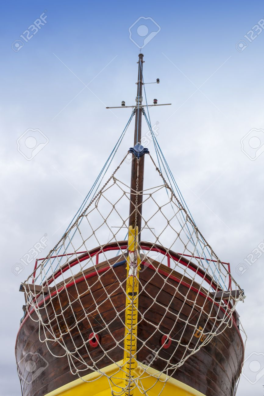 Front View Bow Of Fresh Painted Vintage Wooden Ship Stock Photo