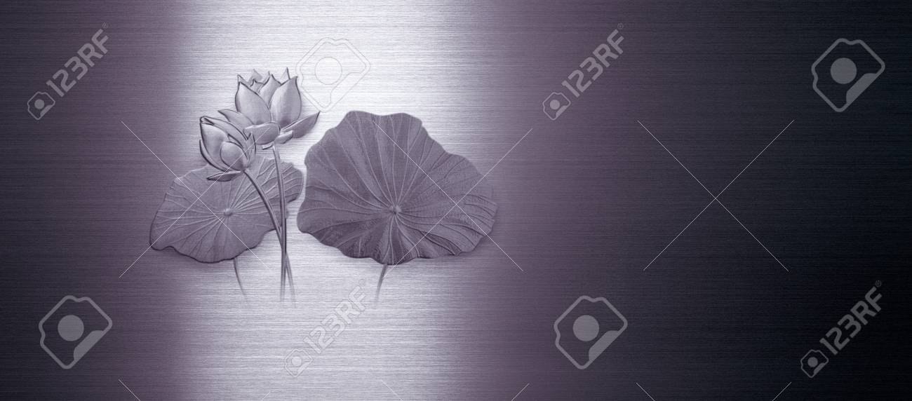 a group of lotus flower on purple and silver iron blackground Stock Photo - 14365837