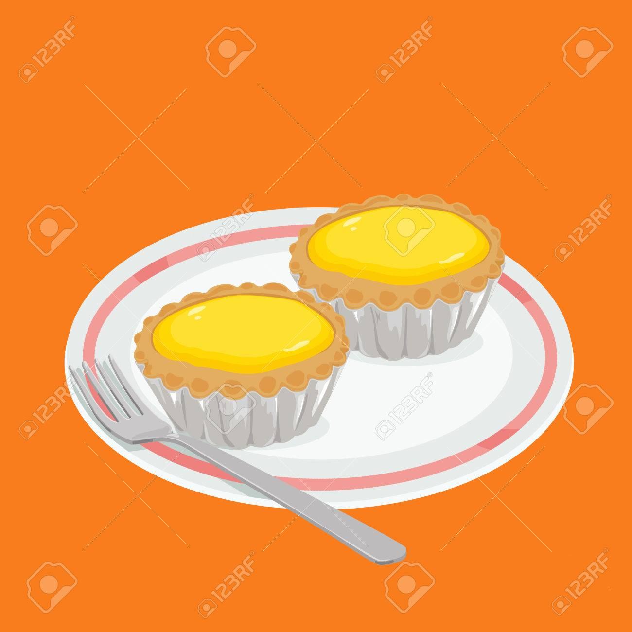 香港スタイル食品エッグタルトのイラスト の写真素材画像素材 Image