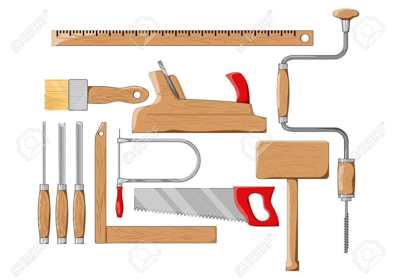 Carpenter Tools Color Silhouette Vector Illustration Royalty Free