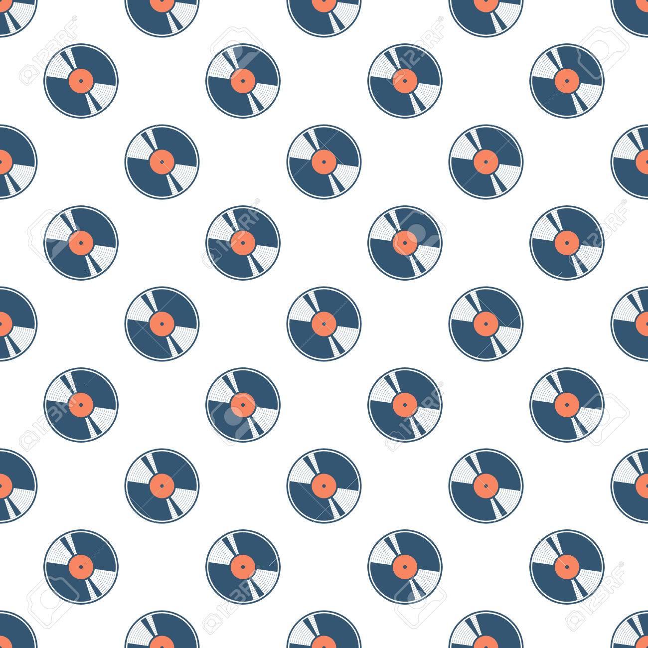 Color vinyl record seamless pattern