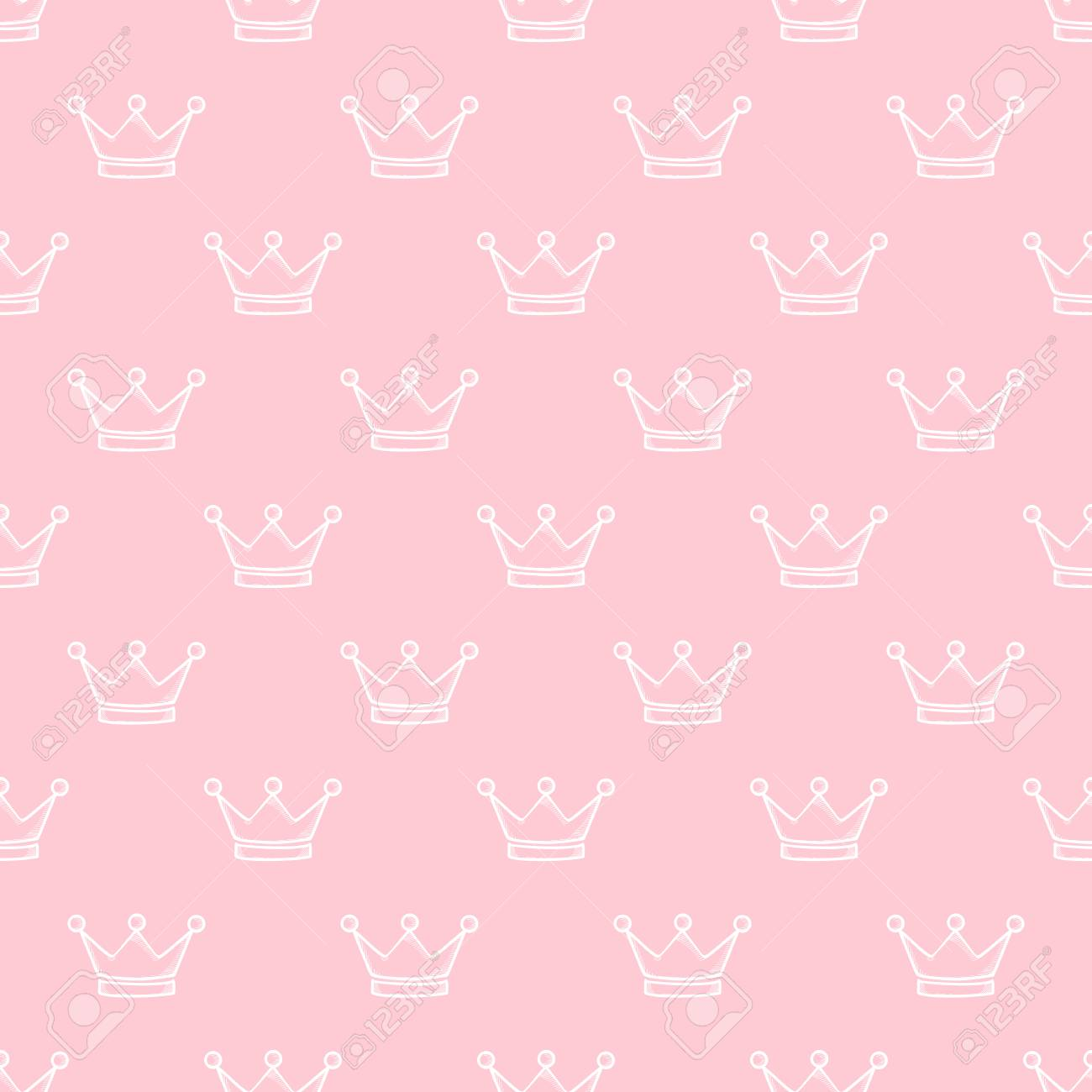 Hand Drawn Crown On Pink Background Seamless Pattern Royalty Free