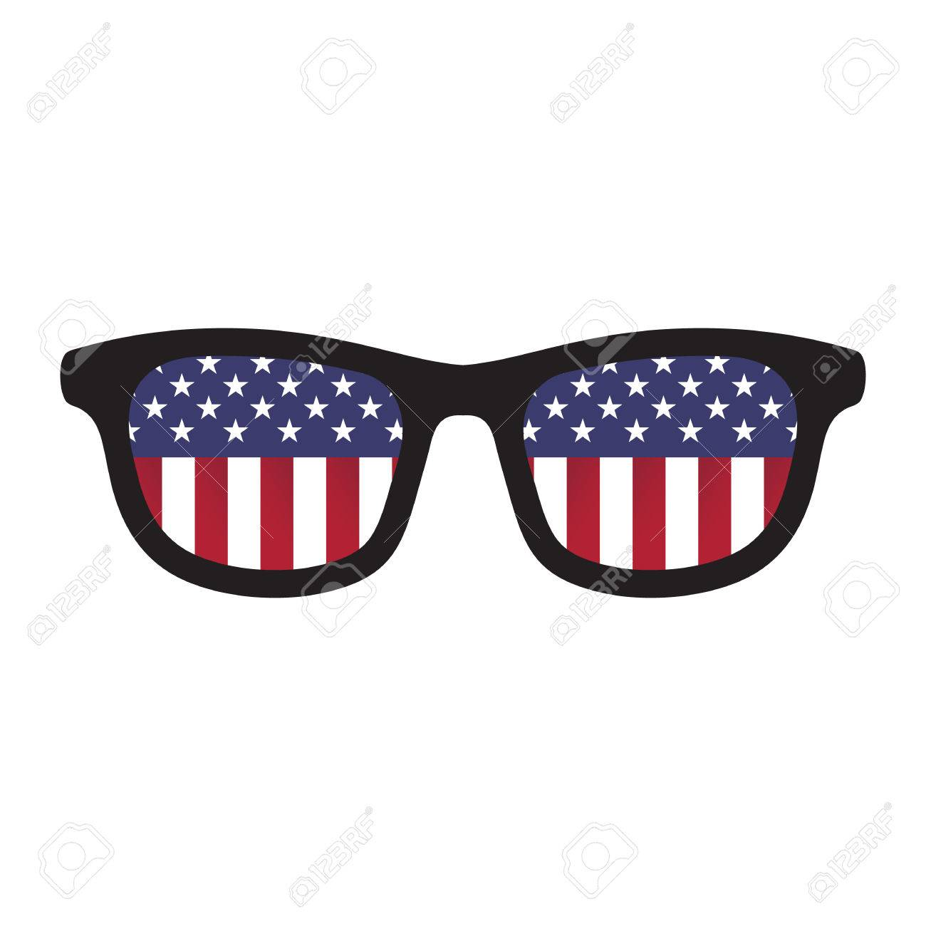 5bc57fd147c Glasses with american flag colors on white background. Stock Vector -  37204061