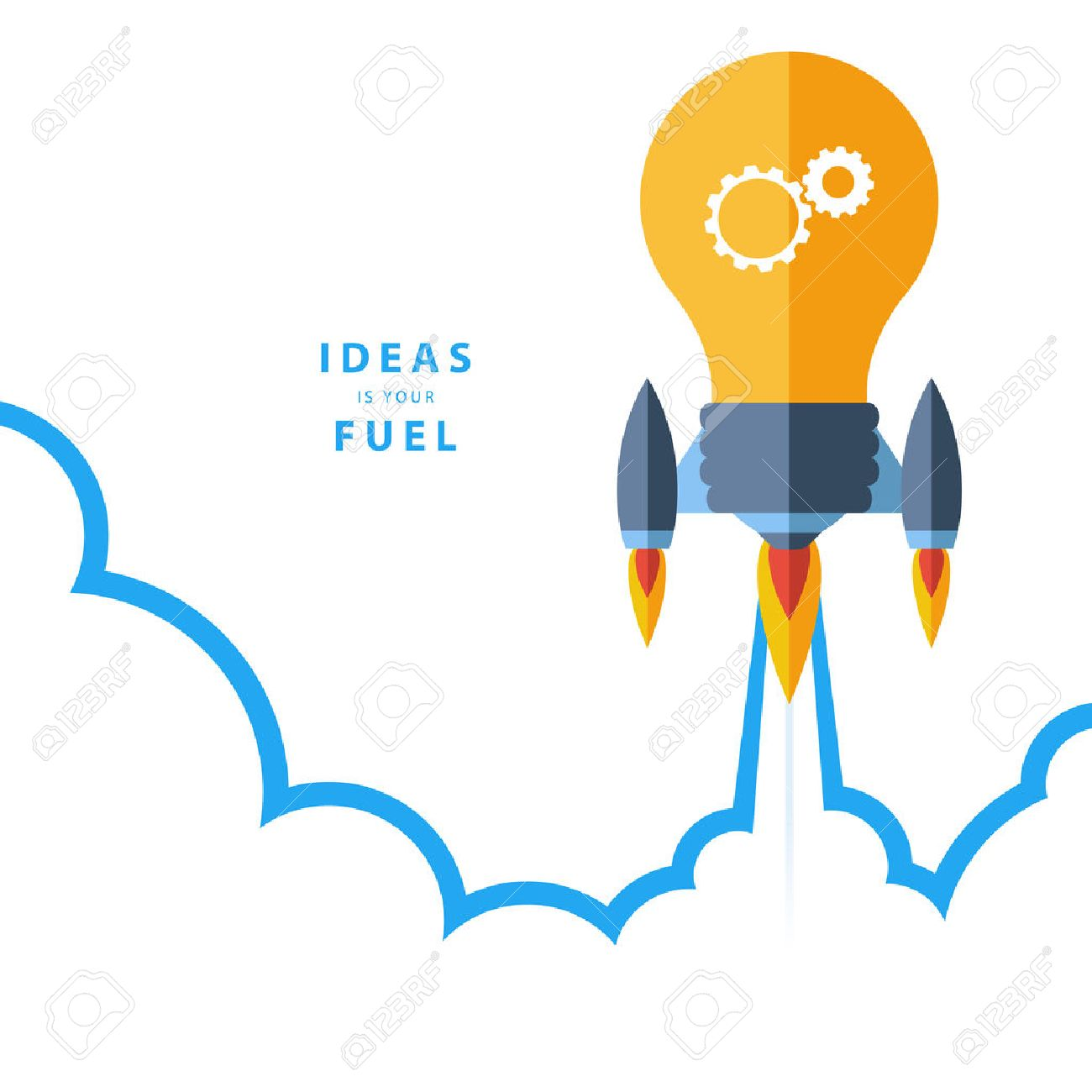 Flat design colorful vector illustration concept for creativity big idea creative work starting new project. Ideas is your fuel. - 40214308